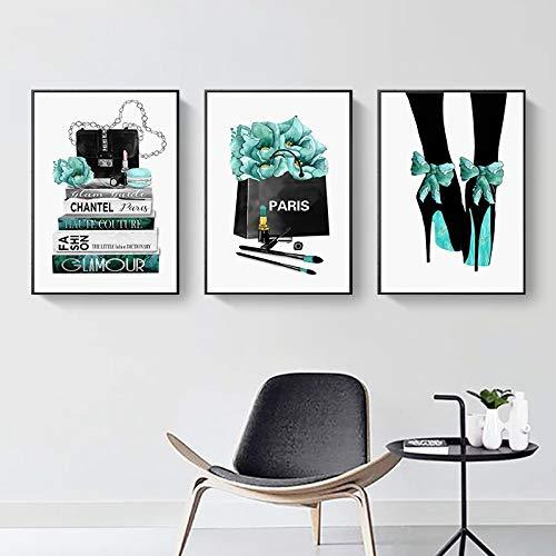 YRWL Pintura de Moda Flor Perfume Tacones Cartel Moderno París Arte de la Pared Lienzo Impresión nórdica Imágenes de Pared Sala de Estar Decoración del hogar -30x40cmx3 Sin Marco