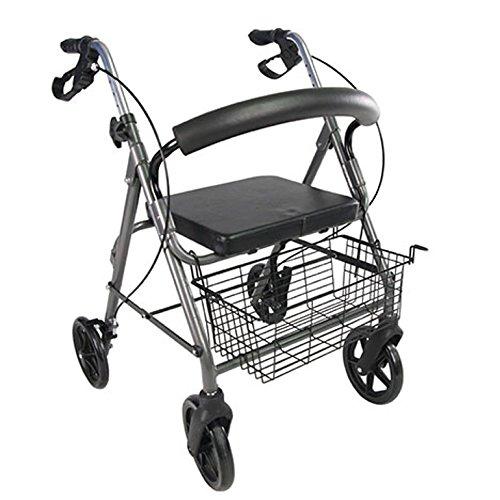 POLIRONESHOP PARO Andador para ancianos con frenos y 4 ruedas plegable portátil
