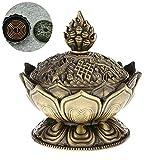 Newin Star Lotus Incienso Titular de la grabadora de Humo Cono Aroma Quemador Titular Estufa de Reflujo incensario para el hogar Templo Decoración - Bronce