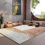 AJLDN Geometría Alfombras Salon, Simple Raya RugTejido de Chenilla No Se Desprende Alfombra para Sala de Estar, Dormitorio, Comedor,B_1.4x2m