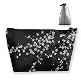 Bolsa organizadora multifunción de flores blancas y negras con estampado de flores, bolsa de viaje con cremallera (trapez)
