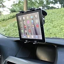 Multi-Angle Rotating Car Mount Windshield Holder Stand Window Glass Swivel Cradle Suction Black for iPad 4, Air,2, Mini,2,3,4, Pro 9.7 - LG G Pad 10.1 7.0 8.0 8.3 F 8.0 - Verizon Ellipsis 7, 8