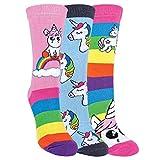 3er Pack Damen Einhorn Socken mit Bunt Regenbogen Streifen | Baumwolle Reich Witzig Socken | SOCK SNOB (Einhorn, 37-40)