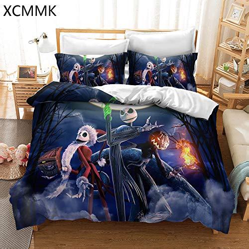 XCMMK The Nightmare Before Christmas Juego de Funda nórdica Estilo espantapájaros Sally y Jack Skellington Funda nórdica y 2 Fundas de Almohada (200 x 200 cm y 50 x 75 cm)