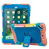 iPad 9.7 Case ACEGUARDER iPad 2018/2017 iPad 9.7 inch Soft Silicone Protective Case Shockproof Rugged Drop Protection Cover Built with Kickstand (Colorful Blue)