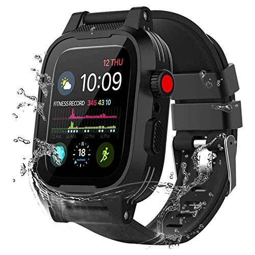 YOGRE Waterproof Case for 42mm Apple Watch Series 3 and Series 2 with Built-in Screen Protector Full Body Armor Shell for Waterproof Anti-Scratch Shockproof Impact Resistant 2 Watch Band (Black 42mm)