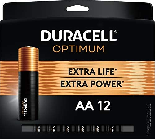 Duracell Optimum AA Batteries   12 Count Pack   Lasting Power Double A Battery   Resealable Package For Storage   Alkaline AA Battery Ideal for Household and Office Devices