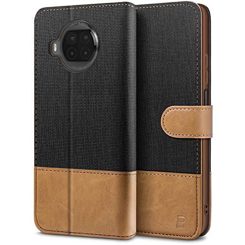 BEZ Handyhülle für Xiaomi Mi 10T Lite Hülle, Tasche Kompatibel für Xiaomi Mi 10T Lite 5G, Schutzhüllen aus Klappetui mit Kreditkartenhaltern, Ständer, Magnetverschluss, Schwarz