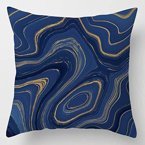 PPMP Funda de cojín de ágata de mármol Intermitente, Funda de cojín Decorativa para sofá con Flores geométricas Azules, Funda de cojín A6 45x45cm, 1pc