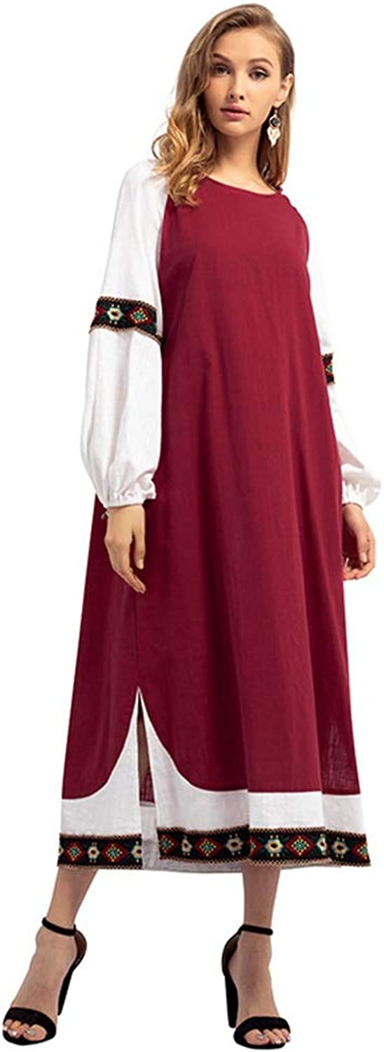 CARRY Dress, Muslim Middle Eastern Style Big Swing Comfortable Soft Long Women's Round Neck Cotton Long Sleeve Dress (Size   M)