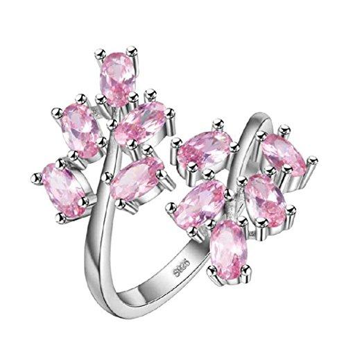Uloveido Charm Pink Zirkonia Blume Baum Blatt Offen Schwanz Erklärung Ringe Platin Überzogener Größe Mode Party Prom Schmuck J681-Pink