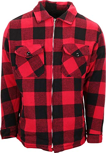 Woodland Supply Co. Men's Wool Blend Sherpa Fleece Lined Zip-Up Jacket (Large, Red Buffalo Plaid)