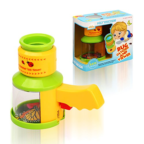 QuadPro Bug Catcher and Viewer for Kids Outdoor Toys Insect Magnifier Microscope Catching Kit Children Preschool STEM Toys for Boys and Girls