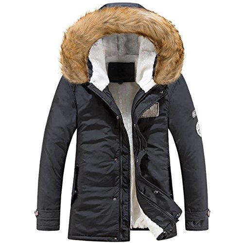KINDOYO Homme Hiver Automne Long Manteau à Capuche Col de Fourrure ÉPaisse Chaud Hoodies Parka Blouson Pardessus Duvet Veste, Noir