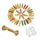 ANZOME 100 PCS mini wooden pegs photo clips with twine string small pegs clips for photo Wall Décor Craft Pins Pegs Scrapbooking Postcard Art Work Display - Painted