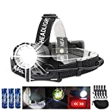 Brightest Rechargeable Headlamp Spot Wide Beam with Back Flash Red Light 90 Degree Adjustable Angle High Powered XHP90 LED for Adults Coon Hunting, Camping, Adventures, Overlanding, Backpacking
