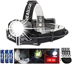 VASTFIRE Best USB Rechargeable Powerful Headlamp Focus Beam for Adults with Back Red Light for Bicycle Biking 5000 Lumen 90°Angle for Electricians with Case,Clips for Hard Hat for Construction Workers