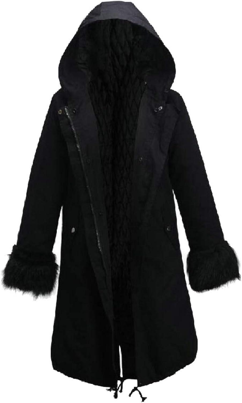 Qiangjinjiu Women Thicken Warm Coat Hood Parka Overcoat Long Jacket Outwear