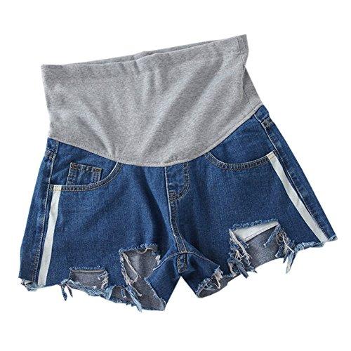 Xinvivion Donne maternità Jeans Pantaloncini - Moda Regolabile Elastico Cura Pancia Estate Incinta Denim Corto Shorts Pantaloni
