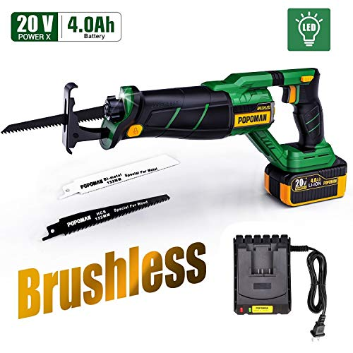 Brushless Reciprocating Saw, POPOMAN 20V 4.0Ah Cordless Saw with LED, 1-1/8