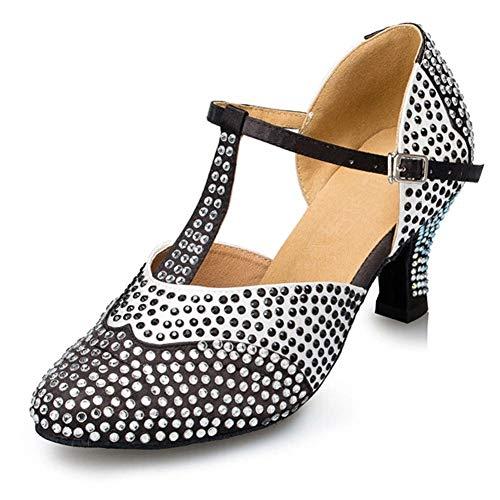 SWDZM Zapatos de Baile Latino salón de Baile de Tango/Salsa/Samba,Dedo del pie Cerrado, YCL136, Tacón-7cm,Negro, 41EU