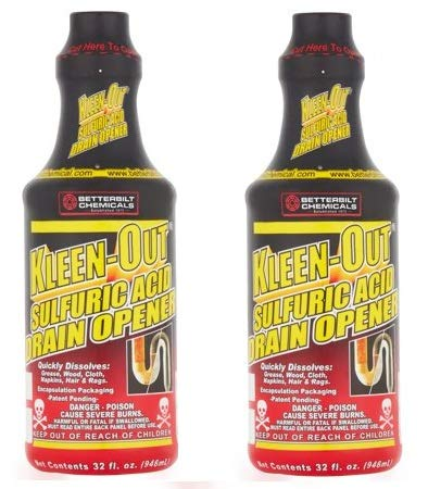 Betterbilt Chemicals Kleen-Out Sulfuric Acid Drain Opener, 32 fl oz (2)