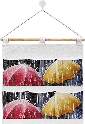Bolsas de almacenamiento de lino y algodón para colgar en la pared, color morado con flores para puerta trasera organizar, para sala de estar, dormitorio, baño, estilo blanco2