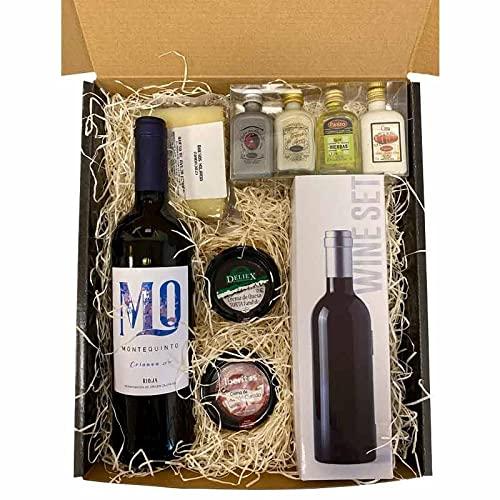 Lote gourmet con vino, cuña de queso de oveja, crema de queso torta, crema de jamón curado, 4 mini licores y set para vinos con forma de botella ( 3 piezas) en caja de regalo
