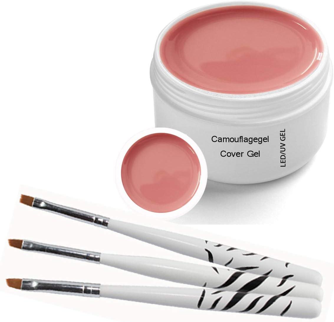 Gel UV - Camouflage- Gel Cover 30ml incluye 3 piezas Conjunto de cepillo