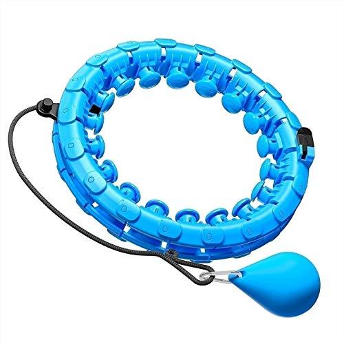 Hula Hoop - Neumático de Fitness Ajustable - con Puntas de Masaje para Bajar de Peso - para Adultos, Adolescentes y Principiantes (Color : Blue, Size : 24 Knots)