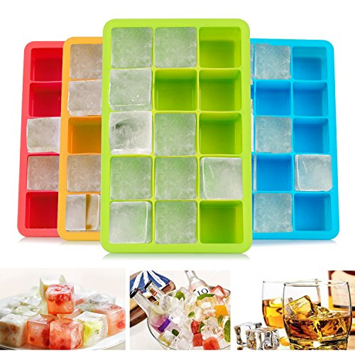 Migimi Eiswürfelform, Silikon Eiswürfel Form 4 Stück Eiswürfelformen Würfel Eiswürfel, Silikon Eiswürfelbehälter für Bier, Cocktails, Whisky, Wasser,