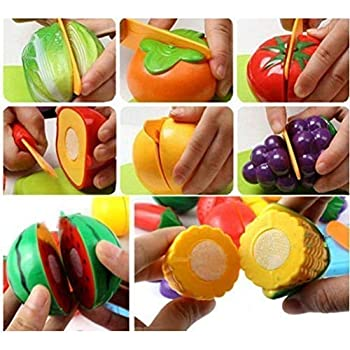 Kids Zone Realistic Sliceable Fruits and Vegetables Cutting, Knife and Plate Play Toy Set