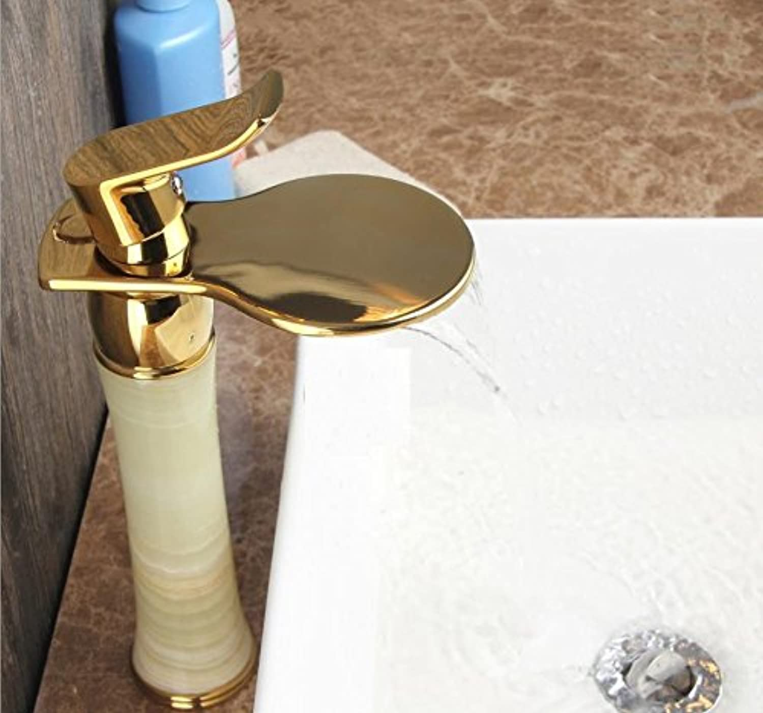 SADASD Contemporary Bathroom Full Copper Basin Faucet Mixer Chrome Plated gold Jade Basin Sink Mixer Tap Ceramic Spool Single Hole Single Handle Cold Water With G1 2 Hose