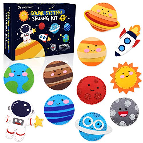 CiyvoLyeen Space Sewing Kit for Kids Solar System DIY Activity Kids Felt Craft Supplies for Girls and Boys Educational Beginners Sewing Set of 11