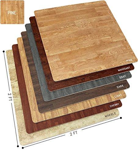 Sorbus Wood Grain Floor Mats Foam Interlocking Mats Tile 3/8-Inch Thick Flooring Wood Mat Tiles Borders – Home Office Playroom Basement Trade Show (12 Tiles, 48 Sq ft, Pine)