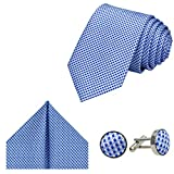 GASSANI Herrenkrawatte Krawatten-Set Hellblau Weiße Karo-Muster, Schmale Skinny Slim Hochzeitskrawatte Herrenschlips Einstecktuch...