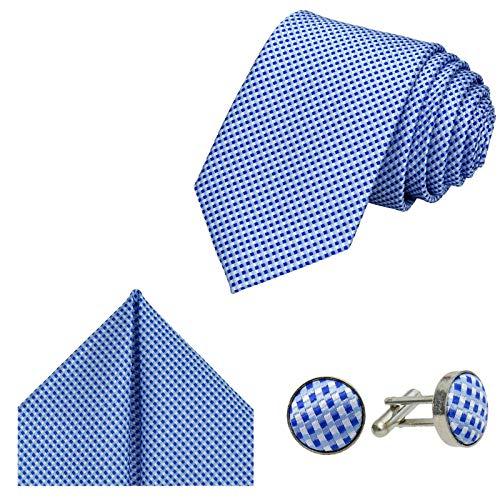 GASSANI Herrenkrawatte Krawatten-Set Hellblau Weiße Karo-Muster, Schmale Skinny Slim Hochzeitskrawatte Herrenschlips Einstecktuch Manschettenknöpfe