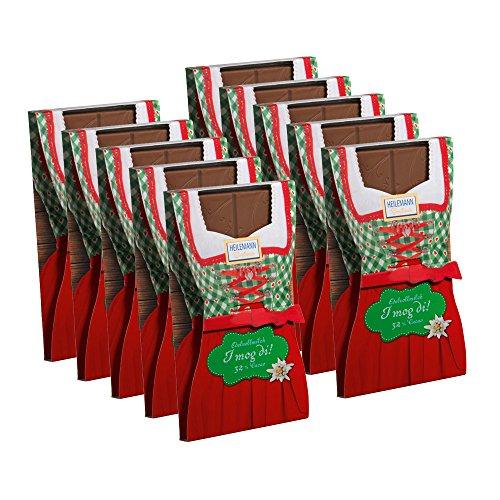 10er SET Flachtafel Dirndl Edelvollmilch Schokolade 37 g Tafel / Alpenserie