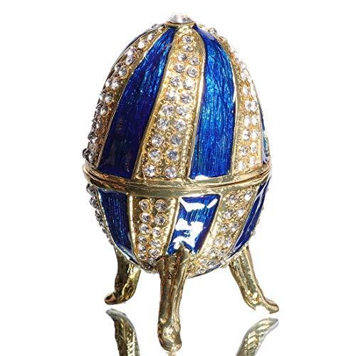 Waltz&F Faberge Egg Style Decorative Jewelry Trinket Box,Collectible Figurines Jewelry Box