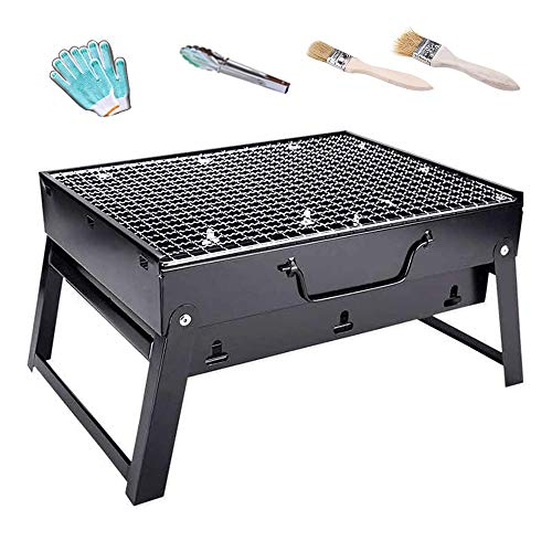 BHB-AY Stainless Steel BBQ, Folding Portable Barbecue Grill, Outdoor Camping Charcoal Grill Barbecue 35x27x20cm