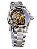 Winner Steampunk Gear Movement Elegant Skeleton Hollow Dial Mechanical Wrist Watch