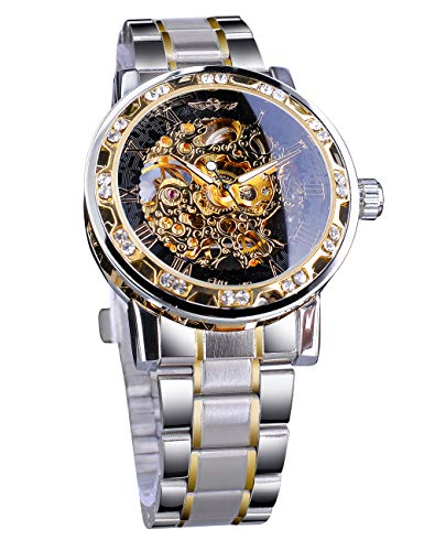Winner Steampunk Gear Movement Elegant Skeleton Hollow Dial Mechanical Wrist Watch