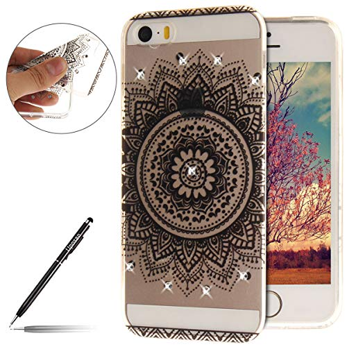 Uposao Compatible avec iPhone Se,Etui iPhone 5S Coque Housse Etui de Protection Transparent Motif Mandala Coque en Silicone Bling Glitter Paillette Strass Brillante de TPU Souple Coque iPhone Se 5S 5