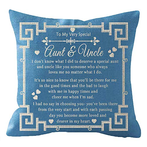 ITFRO Nice Aunts and Uncles Gift with Words to My Very Special Aunt and Uncle Blue Burlap Throw Pillow Case Cushion Cover Sofa Chair Couch Decorative Square 18x18 inches