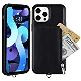 JISON21 for iPhone 12 Pro Max Leather Wallet Case,iPhone 12 Pro Max Neck Lanyard Case with Zipper Credit Card Slot Protective Cover Compatible with iPhone 12 Pro Max 6.7'' (Black)