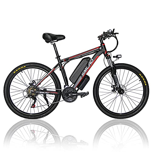 26 Zoll E-Bike Mountainbike C6, Elektrofahrrad E Bike mit 1000W Motor 48V 13Ah Li-Ionen-Akku und 21-Gang-Getriebe-Getriebe, für Damen Herren, 26Zoll Urban Citybike(EU Warehouse),red