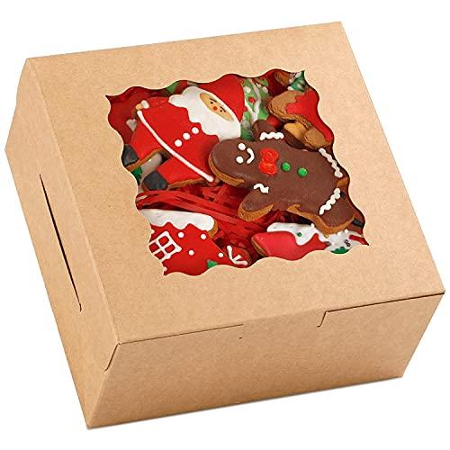 Moretoes - Cajas de repostería de 15.3 x 15.3 x 7.6cm, 48 cajas de papel Kraft con ventana para galletas, pasteles, cupcakes