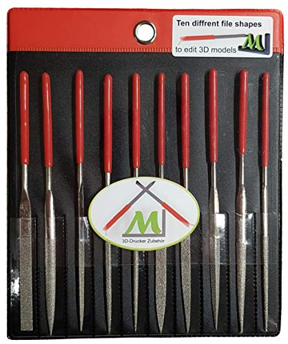ML 3D Drucker Zubehör 10 tlg. Diamant-Feilen-Set 3mmx140mm. Nadelfeilen/Schlüsselfeilen perfekt geeignet für den Modellbau. Enthält unter anderem Flachfeile, Rundfeile, Halbrundfeile, Vierkantfeile.