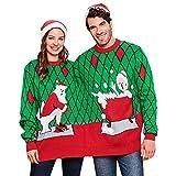 ZEZCLO suéter feo de dos personas con cuello redondo siamés de Navidad para parejas Verde verde Talla única
