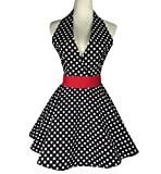 Lovely Retro Apron for Women Super Cute Adjustable Cotton Sexy V-Necked Polka Dot Classic Marilyn Monroe Big Wave Skirt Black Red